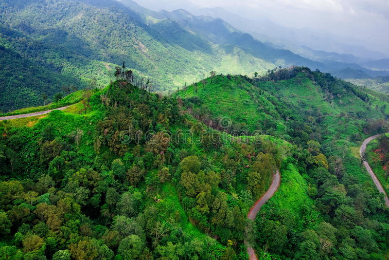 Aerial view over mountain road going through forest. Landscape stock photos