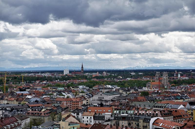 Aerial view over Munich with dramatic sky royalty free stock photos