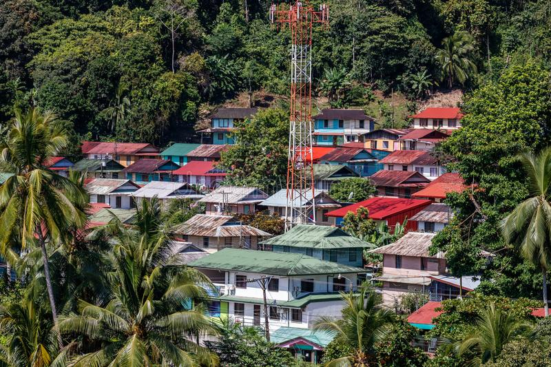 Aerial view over the old neighborhood in Golfito, Costa Rica. stock photos