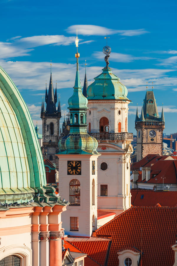 Aerial view over Old Town in Prague, Czech Republic stock images
