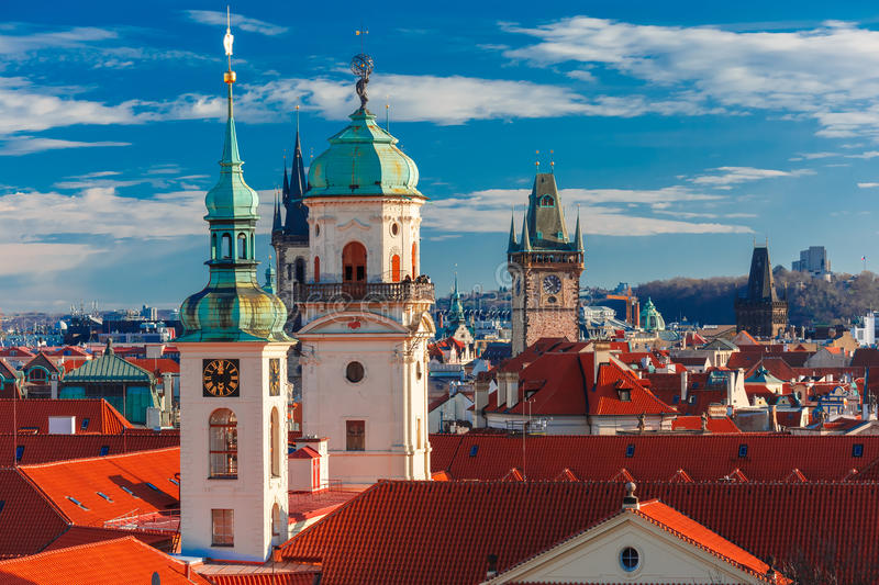 Aerial view over Old Town in Prague, Czech Republic royalty free stock photography