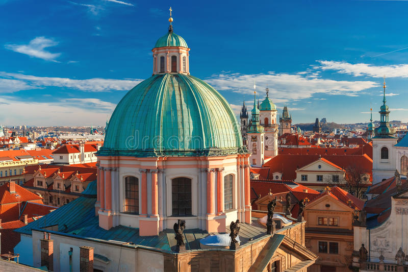 Aerial view over Old Town in Prague, Czech Republic royalty free stock images