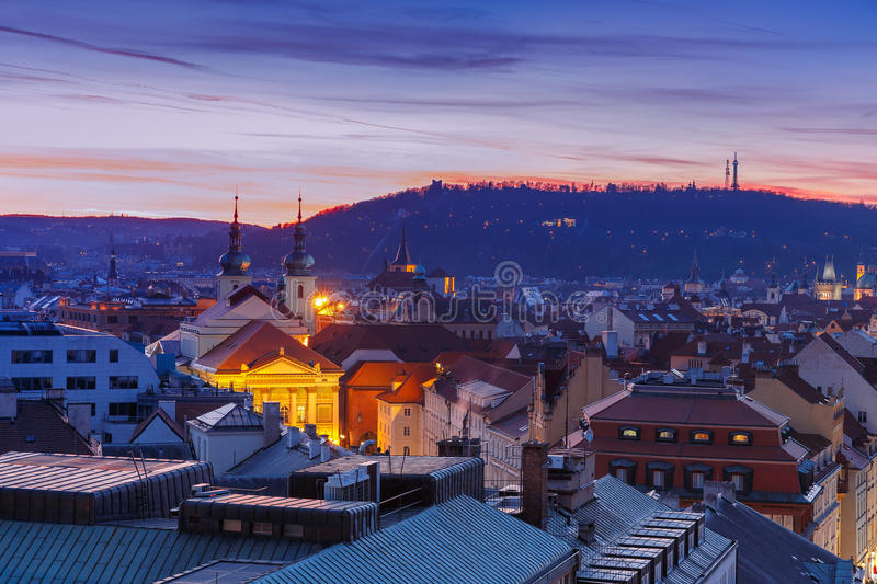 Aerial view over Old Town, Prague, Czech Republic royalty free stock image