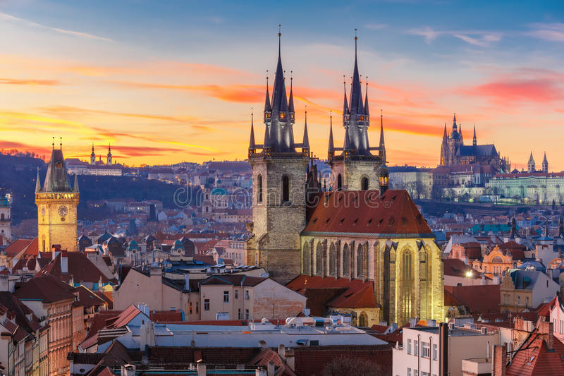 Aerial view over Old Town at sunset, Prague royalty free stock photography