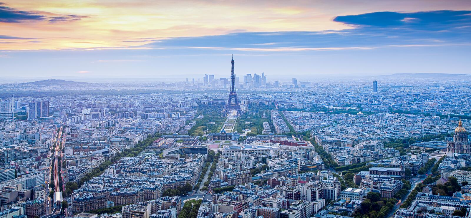 aerial view over Paris at sunset with iconic Eiffel tower royalty free stock image