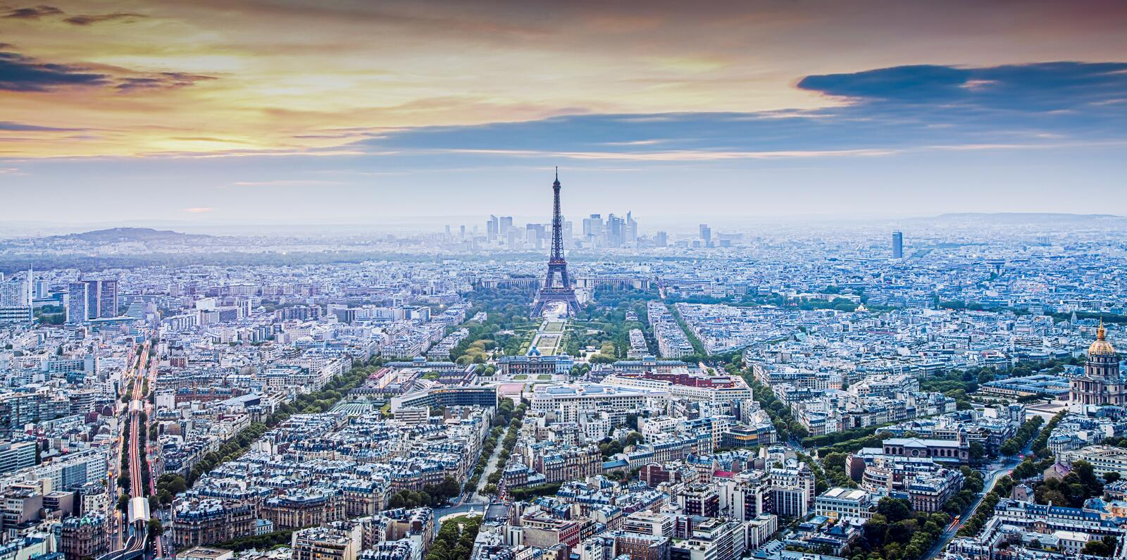 aerial view over Paris at sunset with iconic Eiffel tower royalty free stock photos