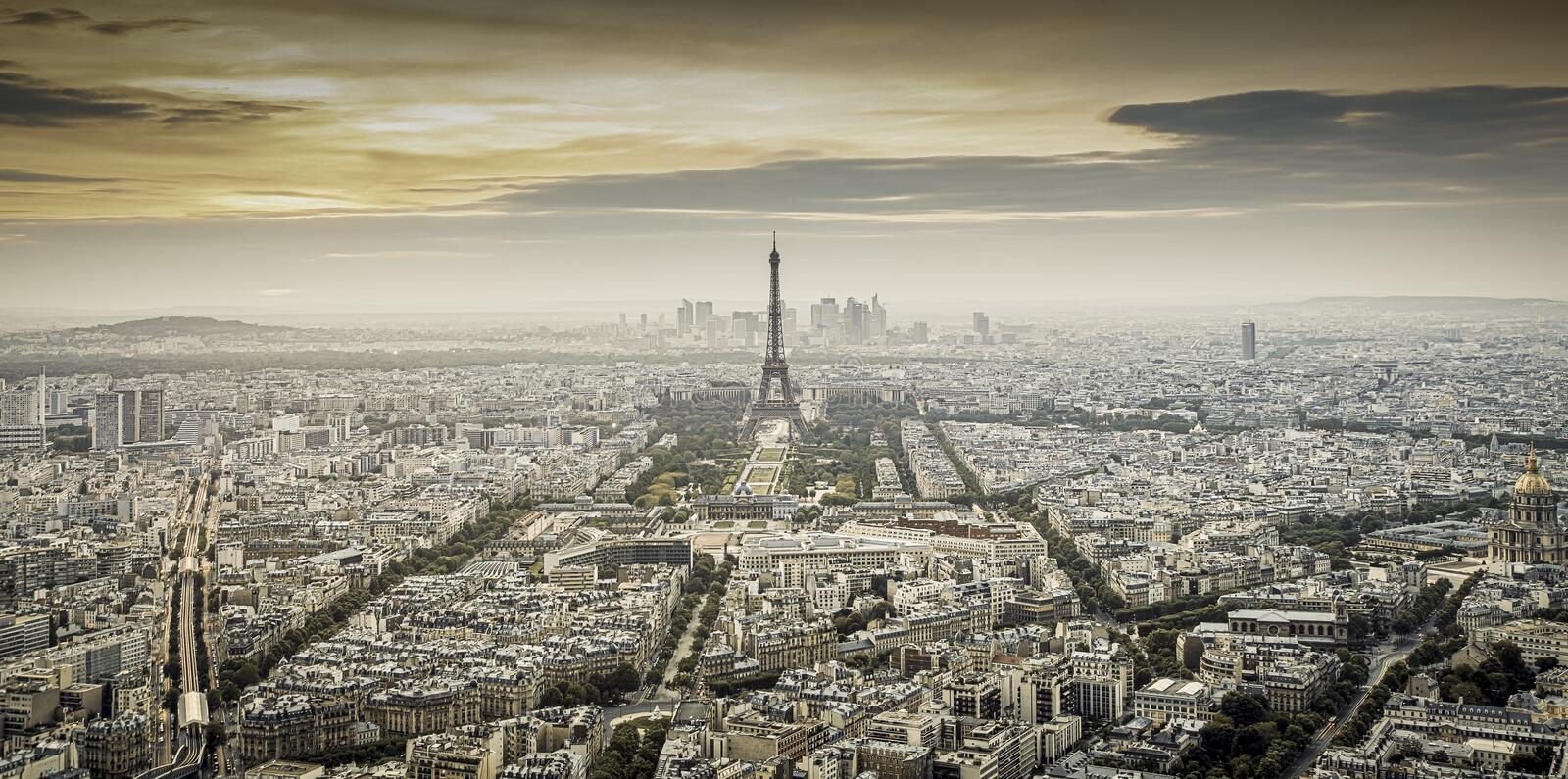aerial view over Paris at sunset with iconic Eiffel tower royalty free stock images