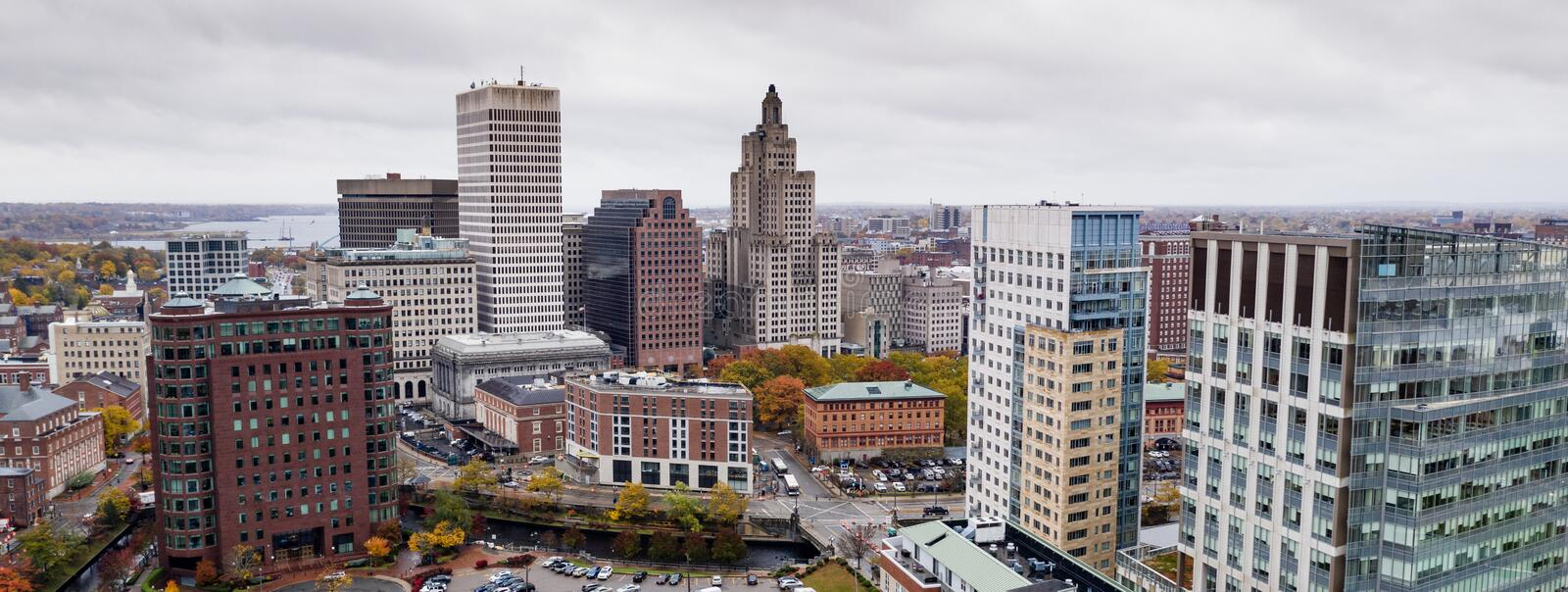 Aerial View Over Providence Rhode Island State Capital City. Overcast Skies Downtown City Urban Skyline State Capital Providence Rhode Island royalty free stock images