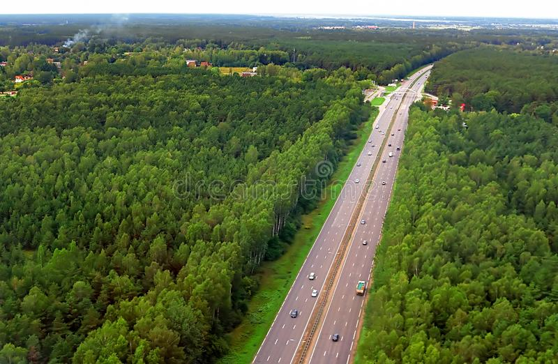 Aerial view over road to Riga in the summer, Latvia royalty free stock images