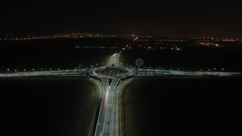 Aerial view over a roundabout, night view stock image