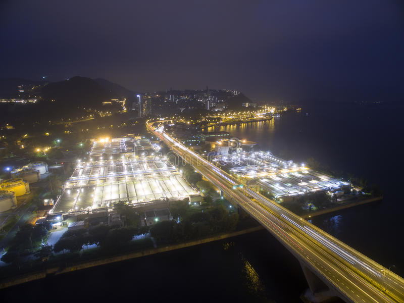 Aerial view over Shatin in Hong Kong. In the evening. It can show the night scenes in of Shatin stock photography
