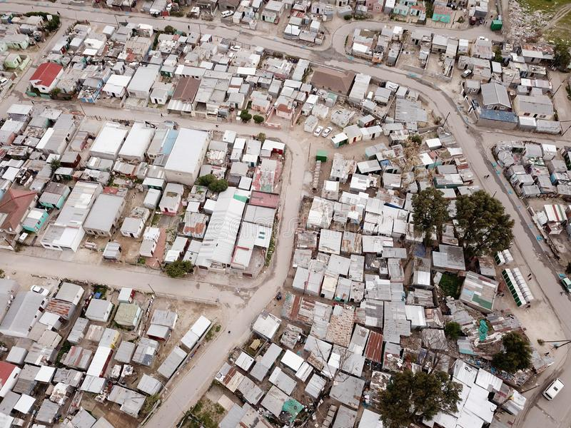 Aerial view over South African township stock image