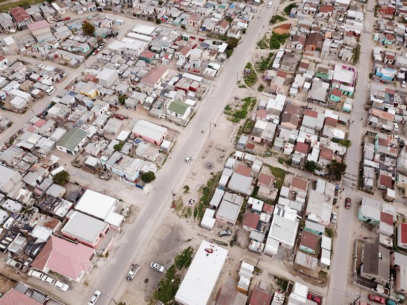 Aerial view over South African township royalty free stock images