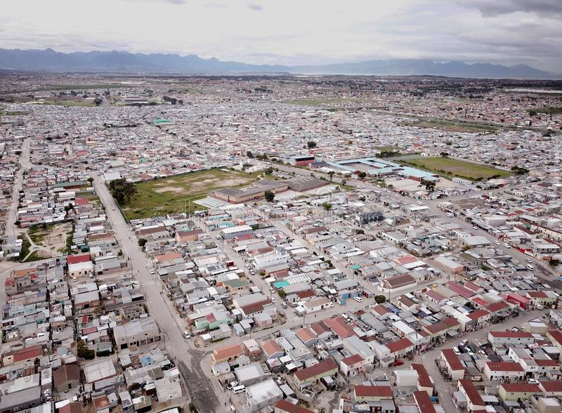 Aerial view over South African township royalty free stock photos