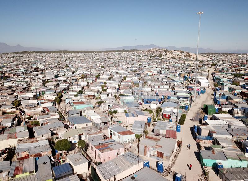 Aerial view over a township near Cape Town, South Africa royalty free stock images