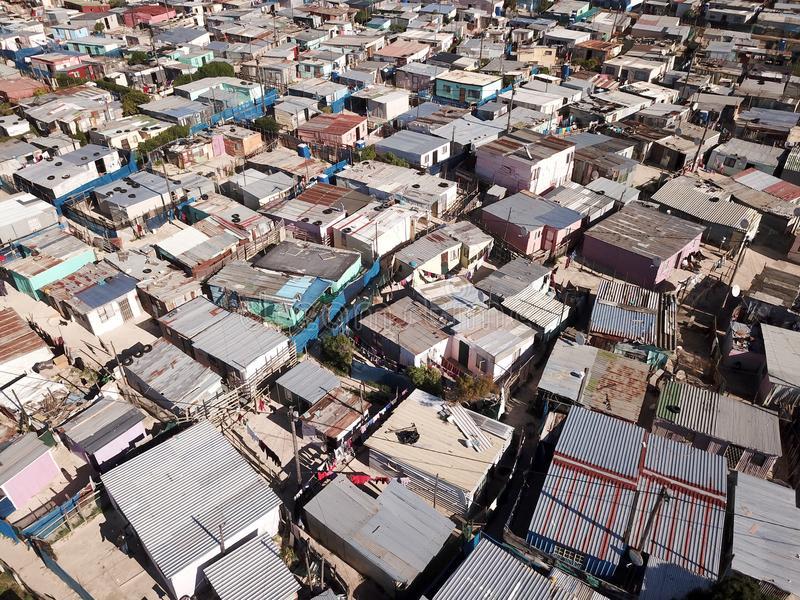 Aerial view over a township near Cape Town, South Africa royalty free stock image