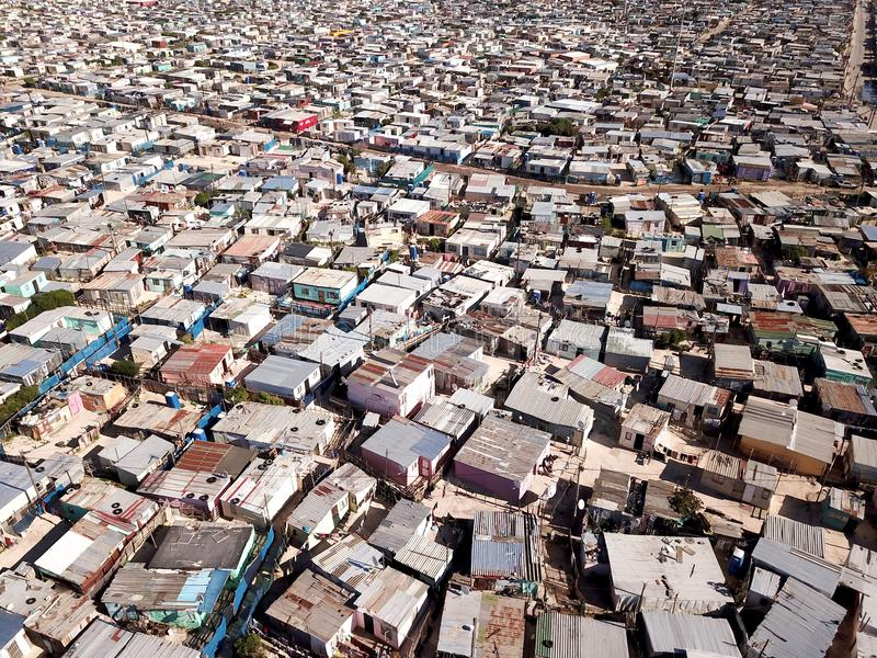 Aerial view over a township near Cape Town, South Africa stock images