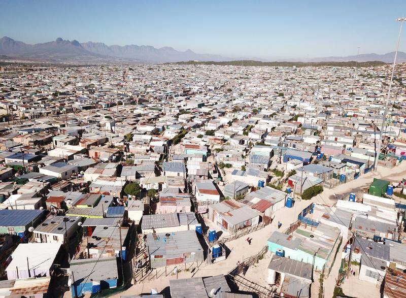 Aerial view over a township near Cape Town, South Africa stock photo