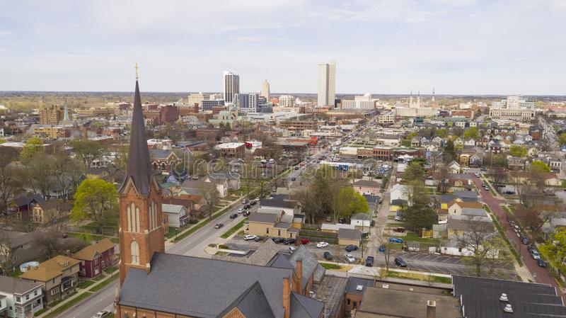 Aerial View Over The Urban City Center Skyline in Fort Wayne Indiana. The downtown urban core city center skyline in Fort Wayne Indiana stock photography