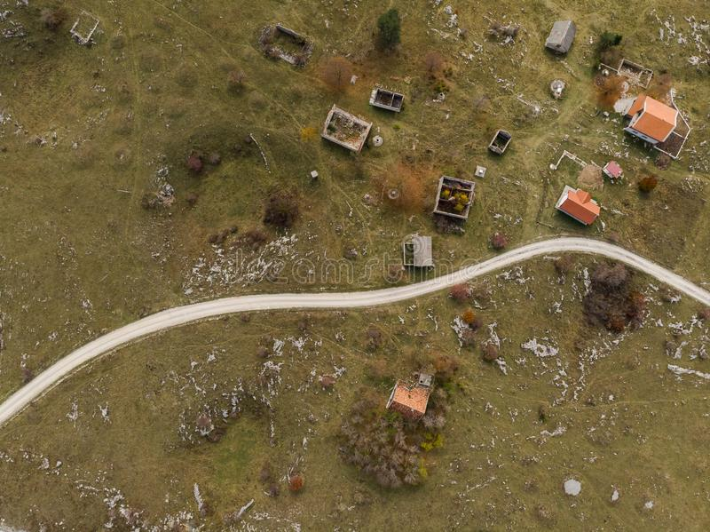 aerial view over village destroyed by Balkan war, Bosnia stock photos