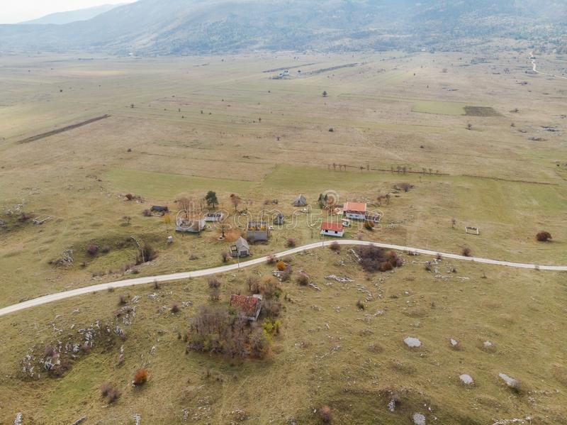 Aerial view over village destroyed by Balkan War,Bosnia royalty free stock photo