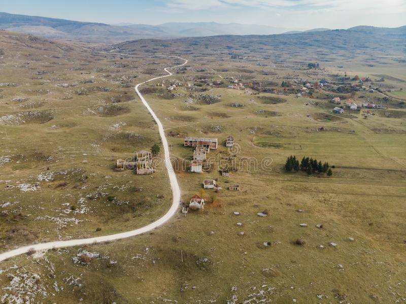Aerial view over village destroyed by Balkan War,Bosnia royalty free stock image