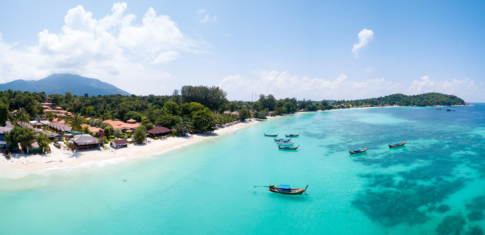 Aerial View Over Water Ko Lipe Beach Thailand royalty free stock photography