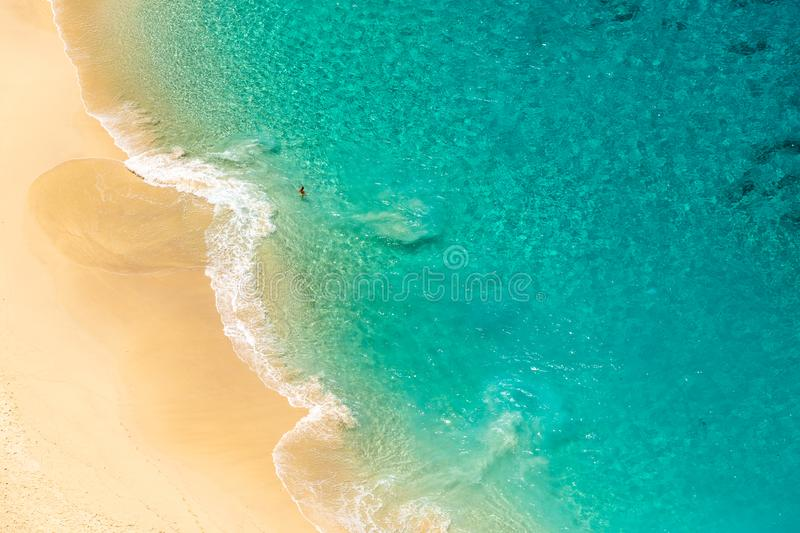 Aerial view over wild Indonesian beach stock photo