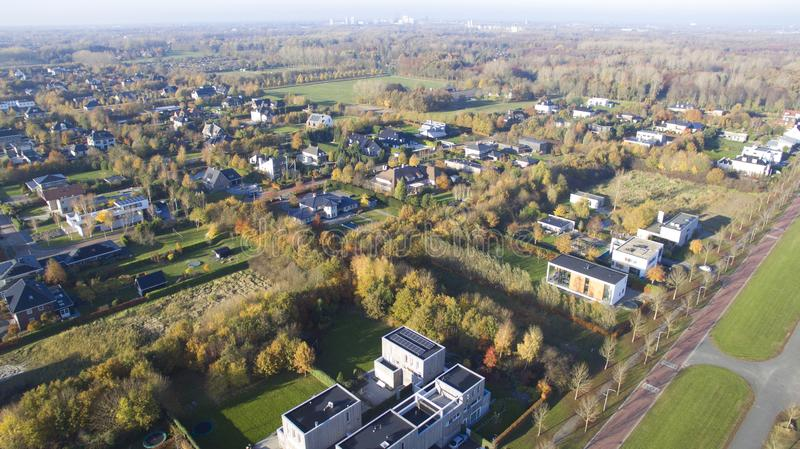 Aerial view on Overgooi. Villa district in Almere, Netherlands royalty free stock images