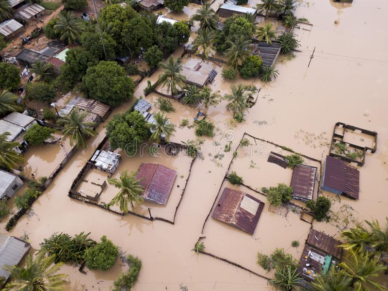 Aerial view overhead flooded houses after a cyclone royalty free stock photo