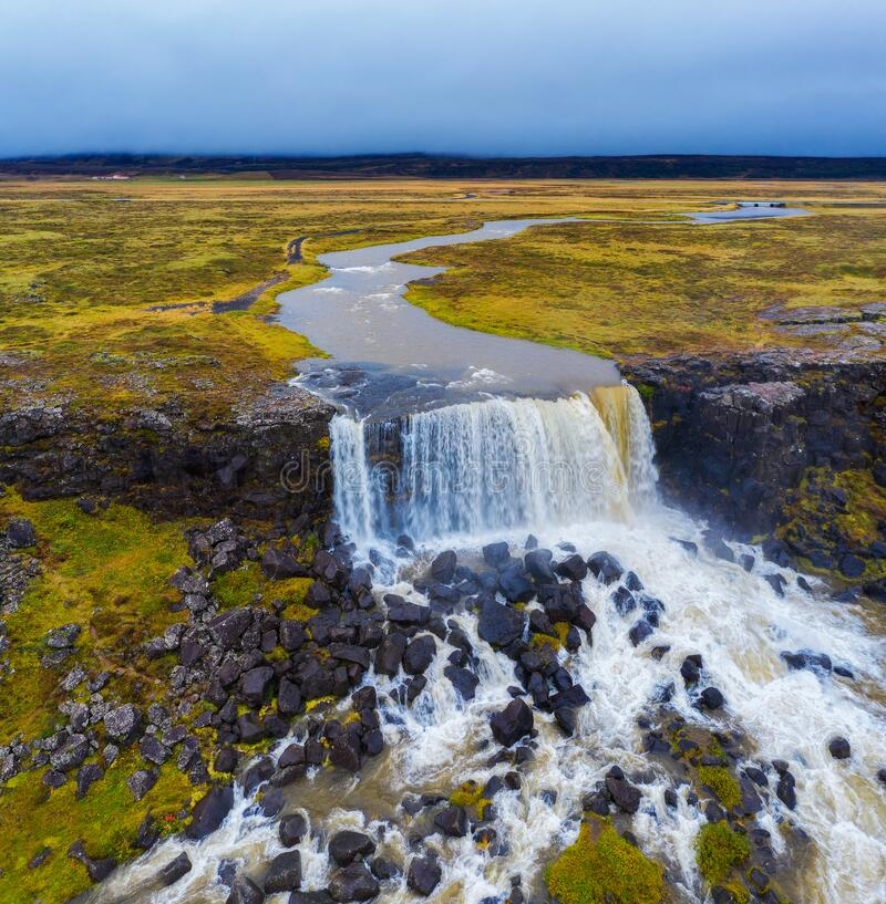 Aerial view of the Oxarafoss waterfalls in Iceland stock photos