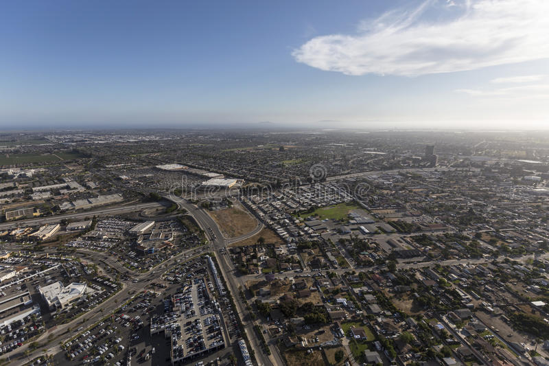 Aerial View of Oxnard and Ventura California. Aerial view of Oxnard and Ventura in Southern California royalty free stock images