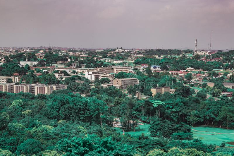 Aerial view of Oyo state government secretariat Ibadan Nigeria. As seen from the Premier Hotel Mokola Hills Ibadan Nigeria West Africa. This used to be the seat stock images