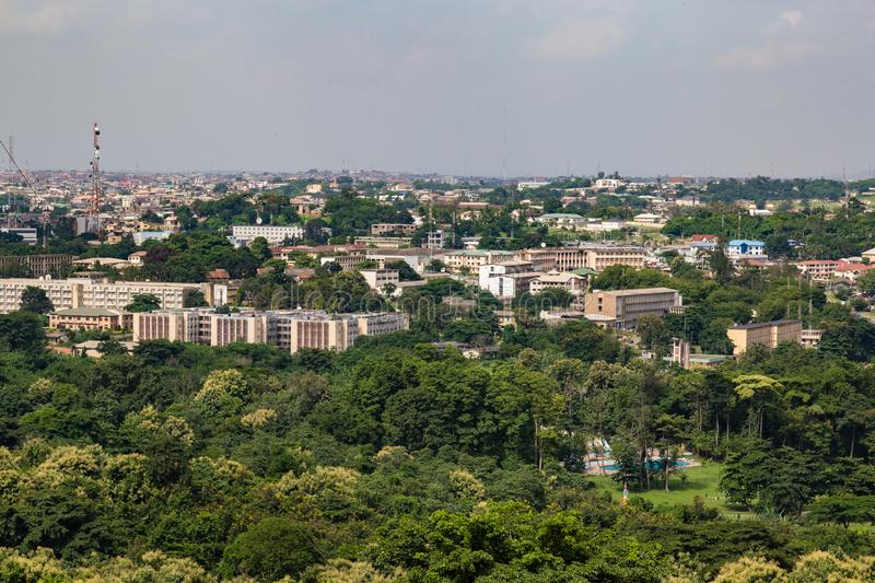 Aerial view of Oyo state government secretariat Ibadan Nigeria. As seen from the Premier Hotel Mokola Hills Ibadan Nigeria West Africa. This used to be the seat royalty free stock images