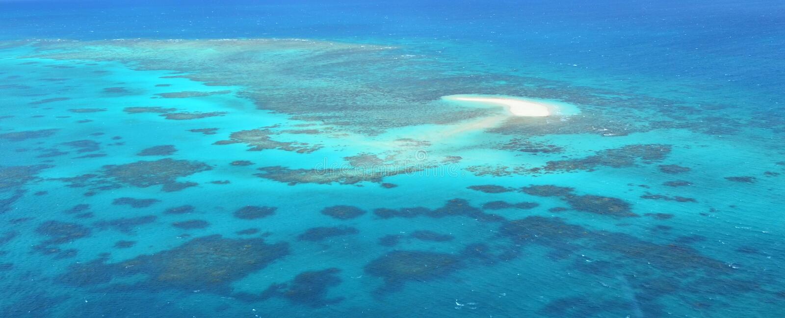 Aerial view of Oystaer coral reef at the Great Barrier Reef Que. Aerial view of Oystaer coral reef at the Great Barrier Reef near Cairns in Tropical North royalty free stock photo