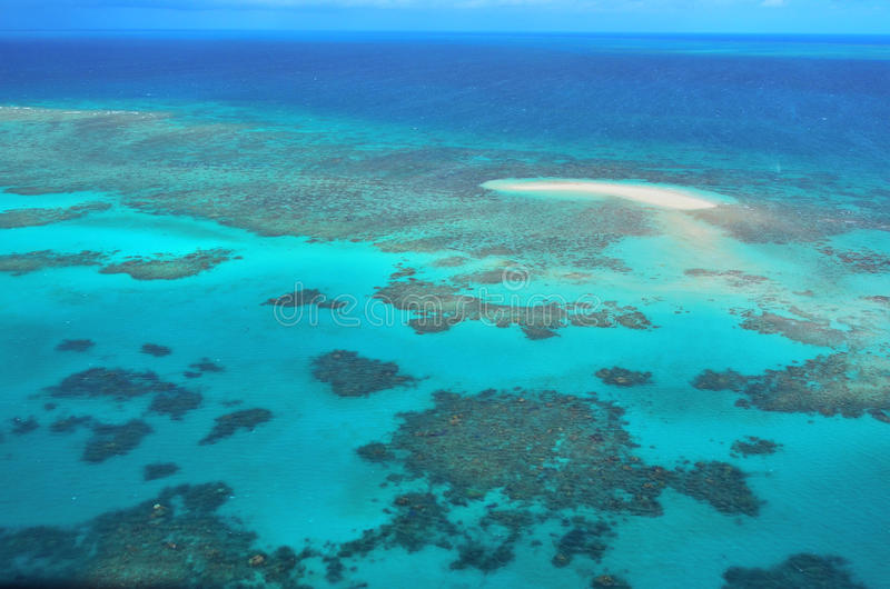 Aerial view of Oystaer coral reef at the Great Barrier Reef Que. Aerial view of Oystaer coral reef at the Great Barrier Reef near Cairns in Tropical North royalty free stock photography