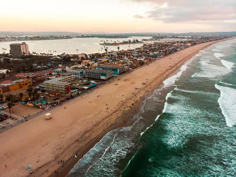 Aerial view of Pacific beach and Mission bay in San Diego. Drone view of Pacific beach and Mission bay in San Diego California aerial sunset landscape panorama stock photography