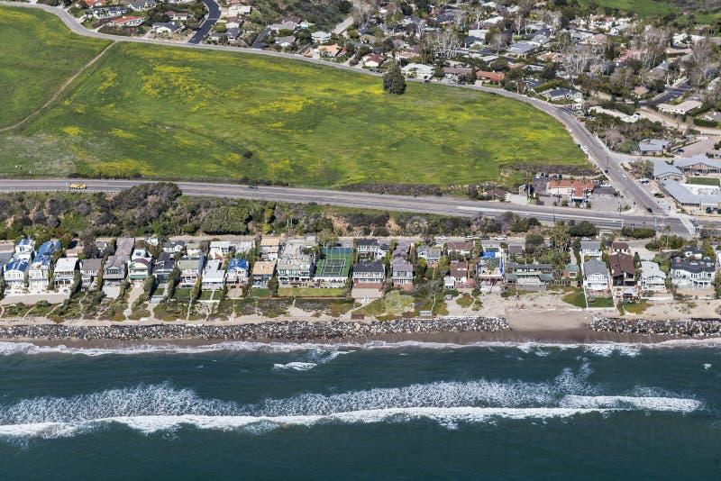 Malibu California Pacific Coast Highway Homes. Aerial view of Pacific Coast Highway homes near Los Angeles and Santa Monica in scenic Malibu, California royalty free stock photo