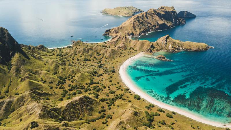 Aerial view Padar island in Komodo National Park stock image