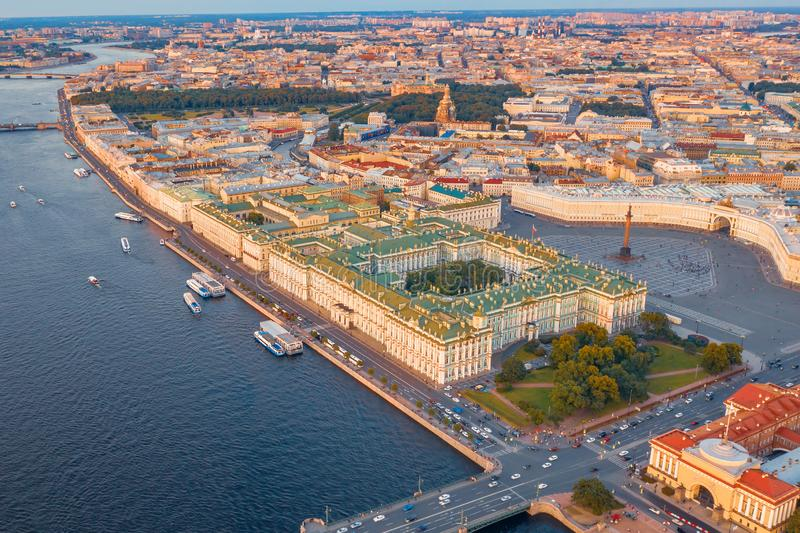Aerial view of Palace Square Hermitage Winter Palace and embankment of the Neva River in the evening at sunset royalty free stock images