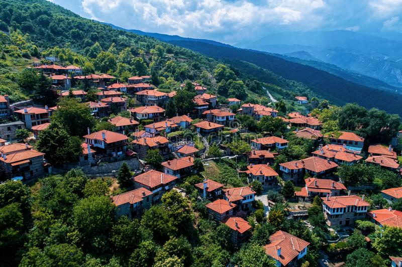 Aerial view of Palaios Panteleimonas is a mountain village, northern Greece. Aerial view of Palaios Panteleimonas is a mountain village, It is built at an royalty free stock photo
