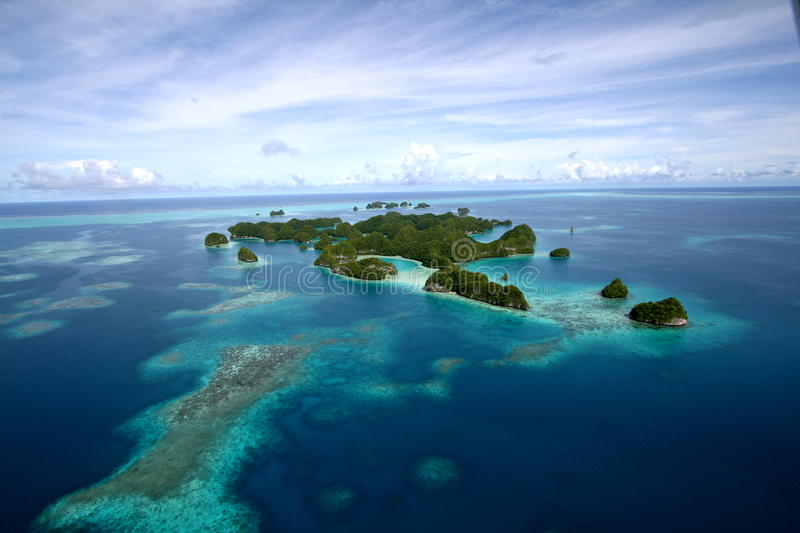 Aerial view of Palau Islands stock images