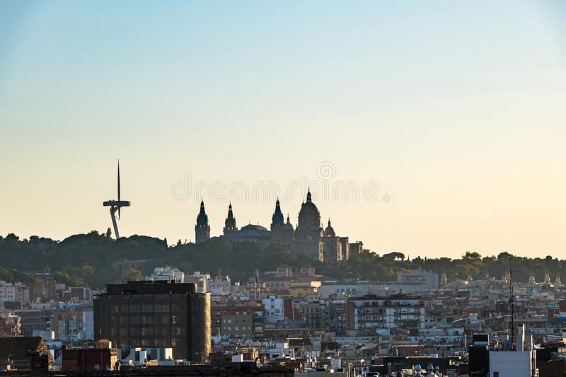 Palau Nacional and Communications tower in Montjuic, Barcelona royalty free stock image