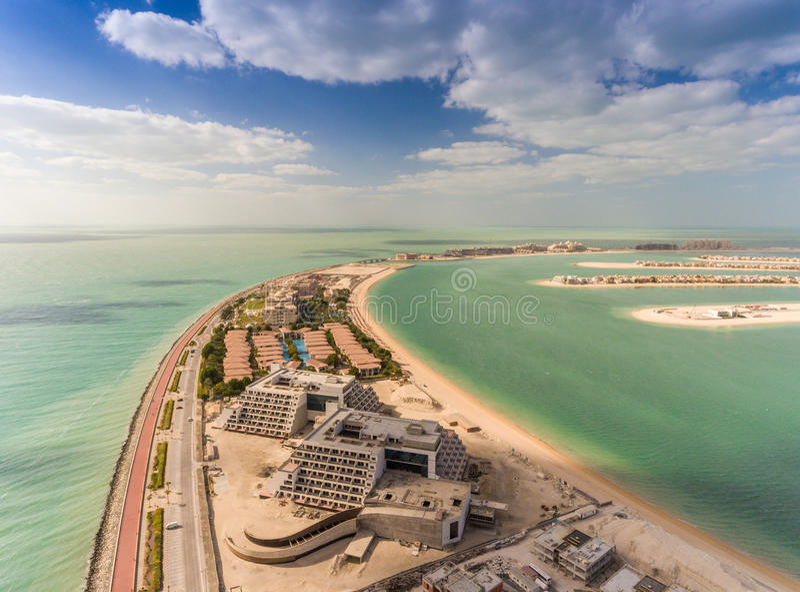 Aerial view of Palm Jumeirah Island, Dubai.  stock images