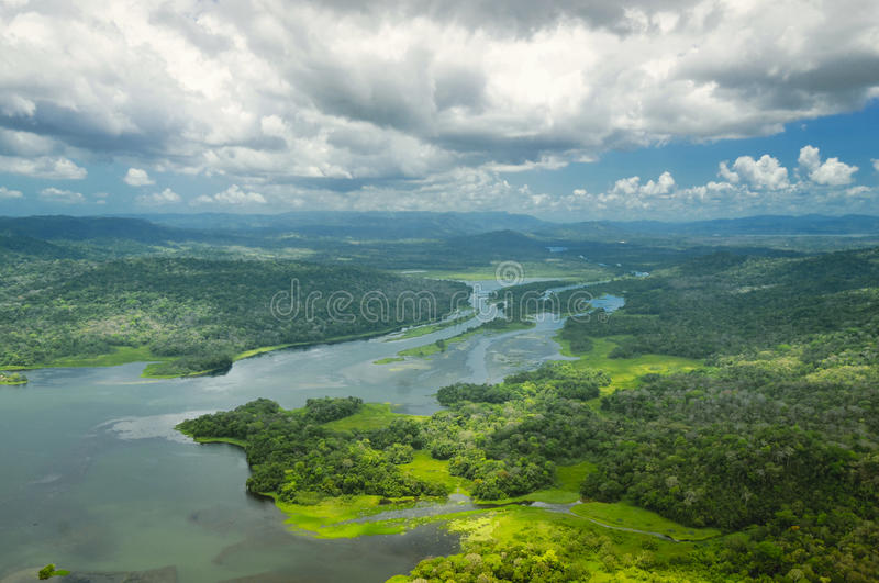 Aerial view of Panama Canal on the Atlantic royalty free stock image
