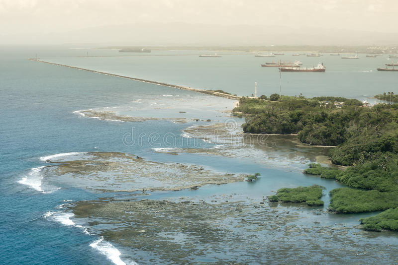 Aerial view of Panama Canal on the Pacific side royalty free stock photography
