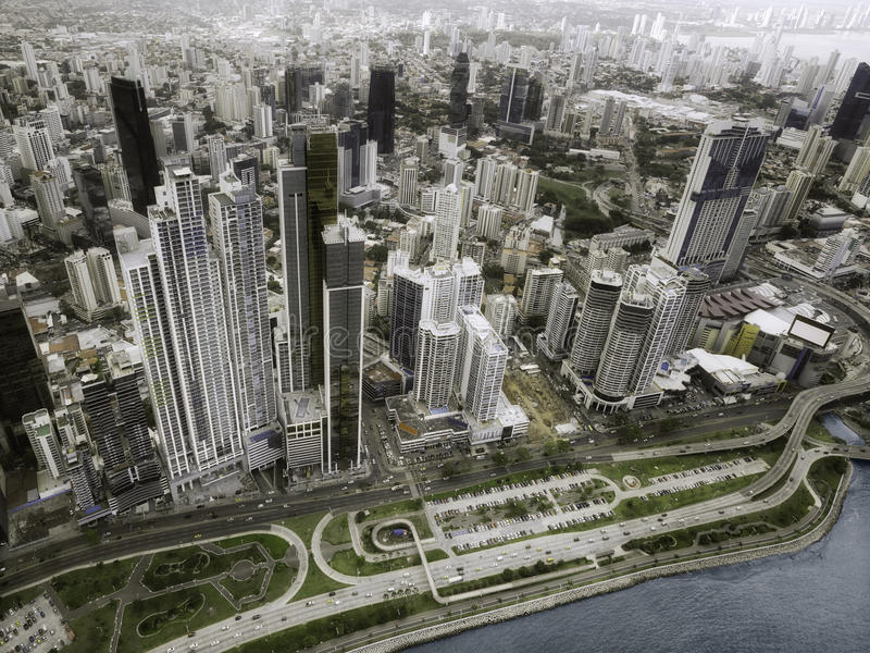 Aerial view of Panama City royalty free stock images