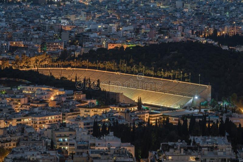 Aerial view of Panathenaic Stadium in night, Athens, Greece.  stock photos