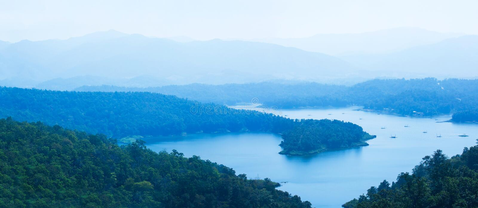 Aerial view panorama of the blue lake in a mountain range stock photography