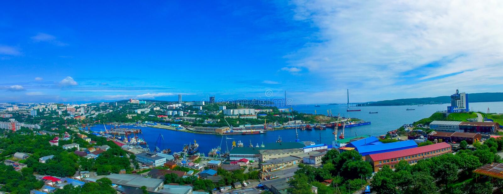 Aerial view of the panorama in Diomid Bay. Vladivostok, Primorsky Krai royalty free stock photography